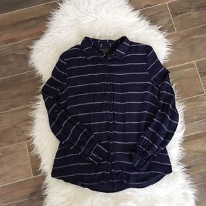 Romeo Juliet Couture Striped Blue Button Front Top